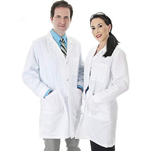 Talvania Lab Coat Men Women White Long Sleeve Unisex Lab Coats Cotton Laboratory Coats