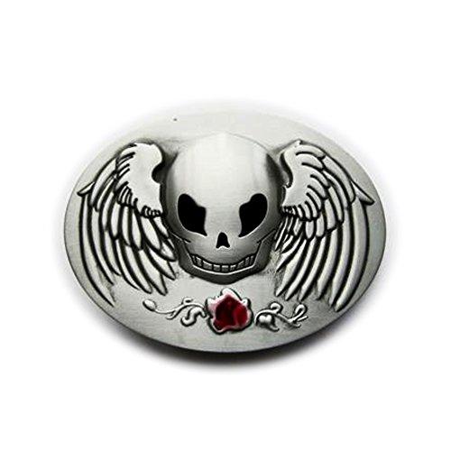 eeddoo® Gürtelschnalle - Winged Skull (Buckle für Wechselgürtel für Damen und Herren | Belt Frauen Männer Oldschool Rockabilly Metall Gothic Wave Rock Biker Western Trucker Casino Skull)