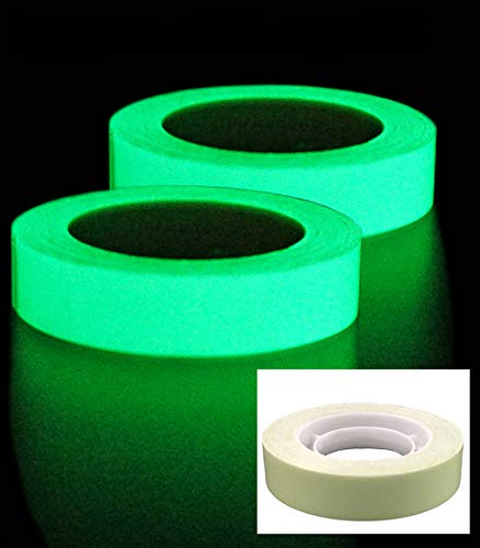 "DUOFIRE 2Rolls Luminous Tape Sticker,9.84' Length x 0.47"" Width (1.2cm3m) High Luminance Glow Removable Waterproof Photoluminescent Glow in The Dark Safety Tape (Size-No.1)"