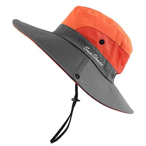 Chapeau Bob Femme Chapeau De Seau Étanche Hommes Femmes Chapeau De Soleil Chapeau De Pêche Protection UV Large Bord Randonnée Chapeau De Plein Air-Orange
