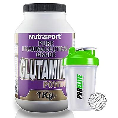 Nutrisport Pure Pharmaceutical Grade Glutamine Powder 1kg / 1000g + Shaker