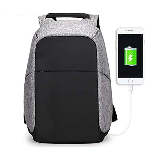 LLTT Multifonction USB de Charge Sacs à Dos for Ordinateur Portable Hommes Ado Mode Homme Sac à Dos Voyage Anti Thief (Color : Gray USB, Size : 15inches)