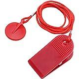PLCatis 2 Piezas Llave de Seguridad para Cinta de Correr - Interruptor Cinta de Correr Universal Redonda Roja como Accesorio Esencial de Seguridad para Gimnasio - 1m Cordón de Nailon