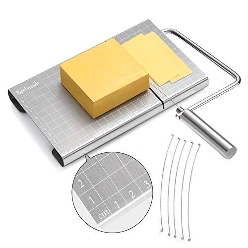 Affettatrice formaggio in acciaio inox con dimensioni precise, affettatrice per formaggio e burro di formaggio, dotata di 5 fili intercambiabili per affettare formaggio
