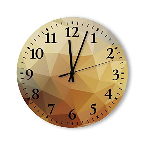 Reloj de pared redondo de 30,5 cm, rústico, moderno, de madera, fondo polígono, reloj de pared de bronce dorado para decoración de sala de estar, madera, para cocina, dormitorio, hogar