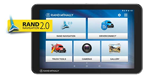Rand McNally TND Tablet 85 Truck GPS with Built-in Dash Cam, Rand 2.0 Navigation and Lifetime Maps, Black, 8 Inches (TND85)