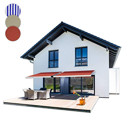 Home Deluxe - LED Vollkassettenmarkise mit Wind- und Sonnensensor - ELOS Terrakotta - 500 cm x 300 cm - komplett inkl. Montagematerial - Verschiedene Größen und Designs