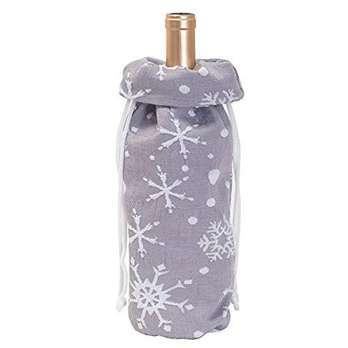 Fei Tao Weihnachten Weinflasche Schutztasche - 4 Stück gestrickte Stoff Weinflasche Beutel-Geschenk-Beutel Weihnachts Zuhause-Party Ornament Tischdekoration (Color : B)