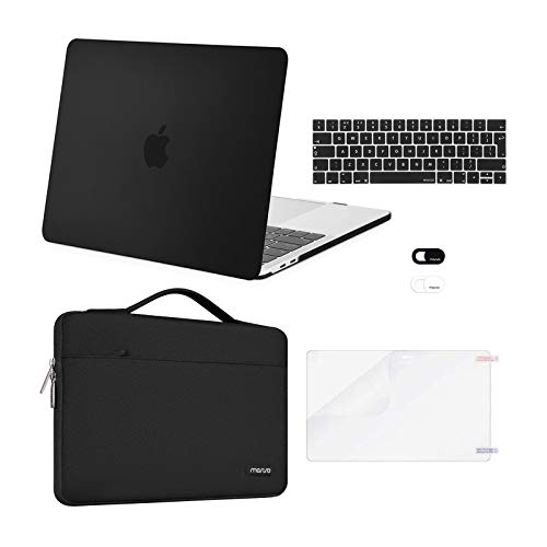 MOSISO Compatible with MacBook Pro 13 inch Case 2016-2020 Release A2338 M1 A2289 A2251 A2159 A1989 A1706 A1708, Plastic Hard Shell Case&Bag&Keyboard Skin&Webcam Cover&Screen Protector, Black