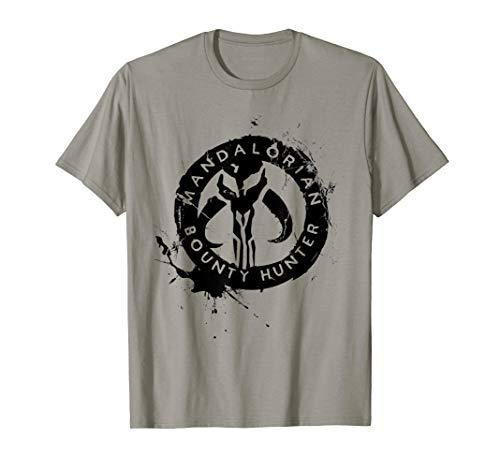 Star Wars The Mandalorian Bounty Hunter Splatter Logo T-Shirt