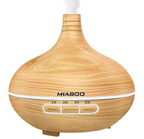 MIABOO Aroma Diffuser 300ML Luftbefeuchter Ultraschall Ultra Leise Einstellbarer Nebel-Modus Diffusor Aromatherapie Ätherischesöl Oil Diffuser mit LED Farbwechsel für Babies Schlafzimmer Büro usw