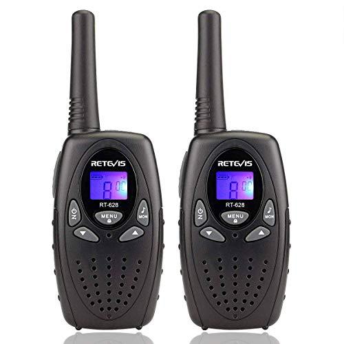 Retevis RT628 Walkie Talkie Niños PMR446 8 Canales Volumen Ajustable 10 Tonos de llamada VOX Bloqueo de Teclado Walkie Talkie Juguete Regalo para Niños (Negro, 1 par)