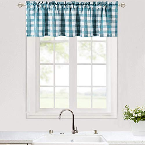 Haperlare Buffalo Check Valance Curtains for Kitchen, Plaid Gingham Design Thick Yarn Dyed Fabric Rod Pocket Valance Curtains for Windows Kitchen Cafe Curtains, 56' x 15', Teal/White