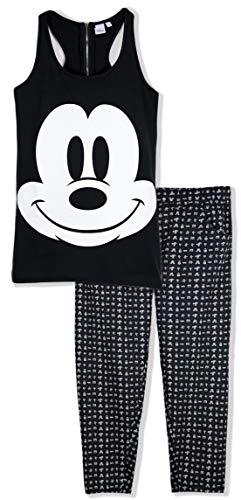 Pijama oficial de Disney Minnie Mickey Mouse para mujer, conjunto de chaleco y pantalón 100% algodón 2018/19 Negro Negro ( M