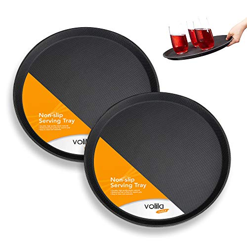 Non Slip Round Serving Tray, Anti Slip Tableware and Bar Serving Tray for Drinks, Home Kitchenware, Bars and Restaurants (Pack of 2 x 35cm Trays)