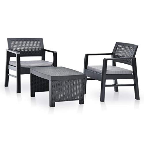 vidaXL Conjunto de Muebles de Jardín Mobiliario de Patio Set de Terraza Exterior Mesa Sillas Asientos 3 Piezas Plástico Gris Antracita