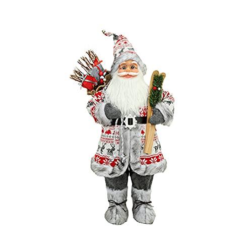 Atrusu Bambole di Babbo Natale in piedi da 30 cm Babbo Natale con slitta di possesso di Babbo Natale bambola di Babbo Natale da collezione statuine da tavola ornamento natale statue e statuine