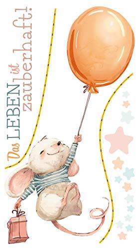 dekodino® Wandtattoo Kinderzimmer Sprüche Maus Luftballon - Leben zauberhaft