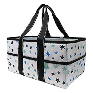 Early Hugs Baby Diaper Caddy Organizer, Nursery Storage, Baby Gift Basket, Blue, Teal or Turquoise Stars