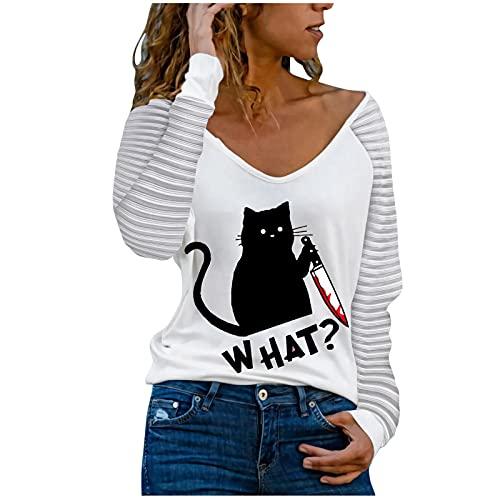 Dasongff Camiseta de manga larga para mujer, cuello en V, camiseta larga, informal, holgada, con estampado
