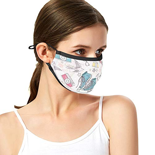 Men's and Women's Dustproof Full Face Protective Mask Patterns Shoes Photo Camera Glasses Stars Thunders Birds for Children TeenReusable face mask with Filter Pocket and Nose Wire Bridge