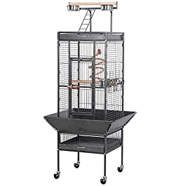 Yaheetech Large Bird Cage for African Grey Parrots Cockatiels Sun Parakeets Conure Lovebirds Budgies Finches Play Top Bird Cages with Perch Stand and Wheels (Black)