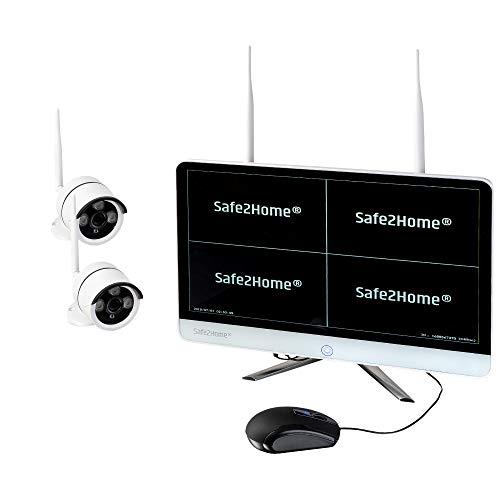 Safe2Home® Funk Überwachungskamera Set deutsch 2X Full HD Cam Nachtsicht – Kamera Set Monitor inkl Rekorder - Videoüberwachung - Speicher - innen - außen Kameras 2,4 GhZ