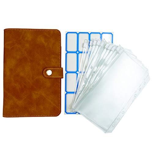 12 transparente Kunststoff-Umschläge mit PU-Leder-Notizbuch, lose Blätter, Budget-Umschlag-System (braun)
