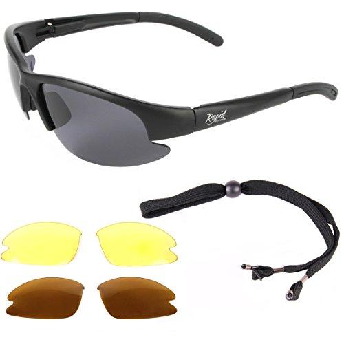 Rapid Eyewear Catch Pro POLARISIERTE Schwarz Sonnenbrille zum Angeln. ANGLERBRILLE, mit Wechselgläsern für Fliegenfischen, Friedfischangeln, Karpfenangeln, Hochseefischen usw. UV Schutz 400 Brille