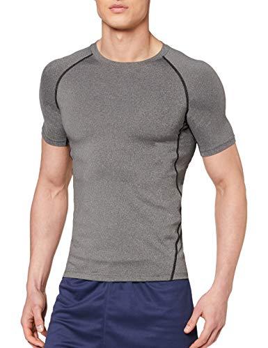 OXENSPORT Herren Funktionsshirt Fitness Kurzarm, Sport Tshirts Atmungsaktiv (Grau, Small)