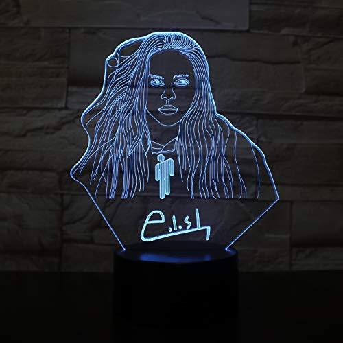 Billie Eilish Berühmte Stern Figur 3D Illusion LED Nachtlicht Tischlampe Büro Raumdekoration Tischlampe Fans Kinder Geschenk Nachtlicht
