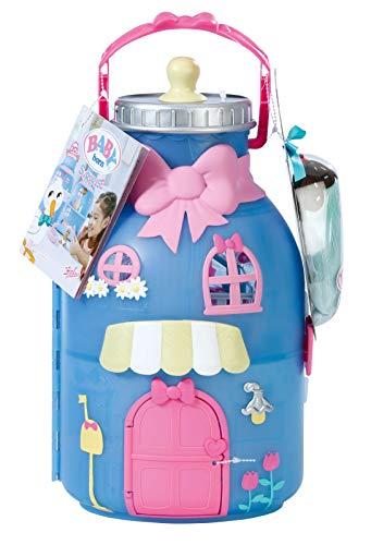 BABY born CASA BIBERÓN - Este biberón con asa de transporte se distribuye en dos plantas. Hay un inquilino muy especial en la casa: una muñeca sorpresa con muchos accesorios y funciones.
