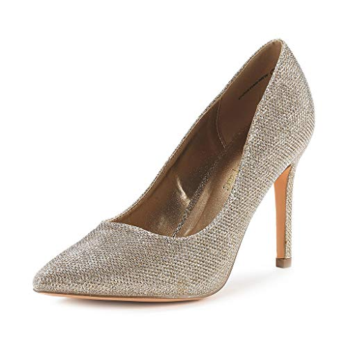 DREAM PAIRS Women's Gold Glitter High Heel Pump Shoes - 6 M US