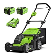 EASY TO START - Insert 40V battery & get started: with the battery lawnmower you can immediately start mowing freely & without cables in your garden - 2 batteries 2Ah and charger are included EFFICIENT - our lightweight cordless lawnmower is suitable...