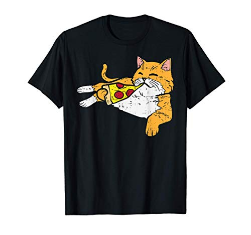 Cat Eating Pizza Cute Snack Food Lover Foodie Pet Owner Gift...