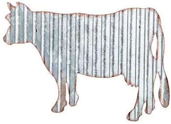 ABC Products Vintage Cow Cut Out From Corrugated Galvanized Metal Wall Hung Add To Your Decor In Your Home Office Farm House And Galvanized Coated Accented Rust Color Edges