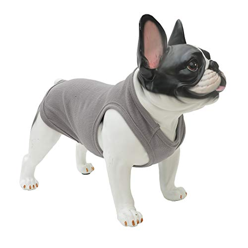 Lovelonglong 2019 Summer Pet Clothing, Dog Clothes Blank T-Shirts Ribbed Tanks Top Thread Vests for Bulldog Pit Bull Dogs 100% Cotton Darkgray XXL
