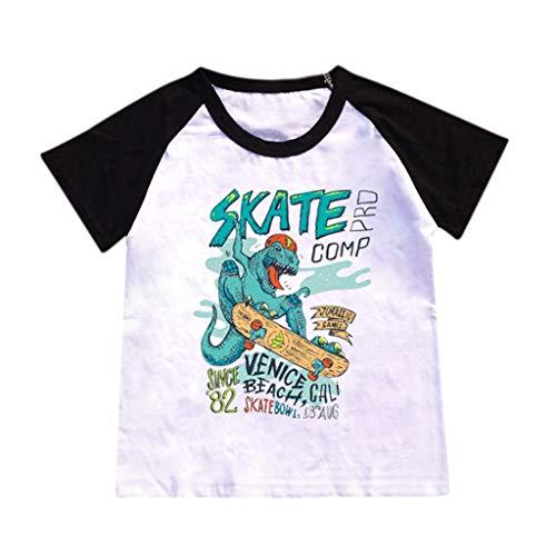 JUTOO Kinderbaby-Karikatur-heiße Art-Dinosaurier-Muster-Buchstabe-Druck-T-Shirt, das Hemd übersteigt (Schwarz,XXXL)