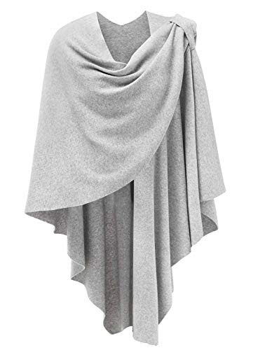 Womens Large Cross Front Poncho Sweater Wrap Topper Grey