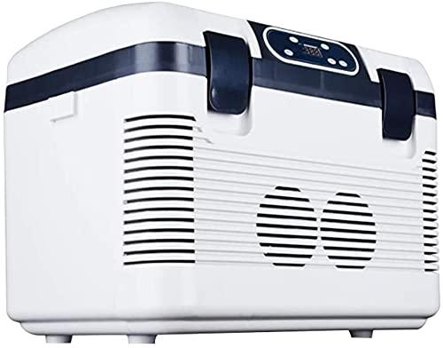 TANKKWEQ Coche de Doble núcleo de 19L Mini refrigerador refrigerador y más cálido para el hogar, la Oficina, el automóvil, el Dormitorio y los Cables de alimentación portátil - AC y DC