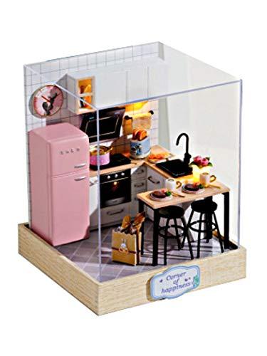 [リトルスワロー] DIY ドールハウス ミニチュアハウス LEDライト付き 手作りキット 小さな部屋 幸せのシングルルーム ミニチュア プレゼント ハウス 大人 ミニ かわいい コレクション おんなのこ (キッチン)