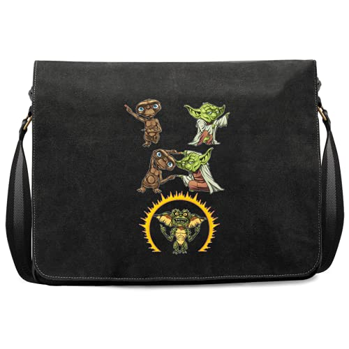 OKIWOKI Star Wars - Gremlins - ET Lustiges Umhängetasche - Yoda und E.T. Der Außerirdische and Spike Gremlin (Star Wars - Gremlins - ET Parodie signiert Hochwertiges Umhängetasche - Ref : 1103)