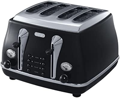 DeLonghi Icona, 4 Slice Toaster, CTO4003BK, Black
