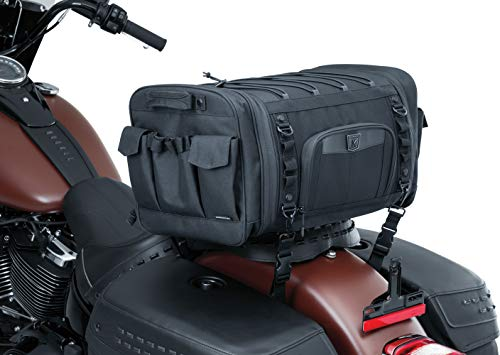 Kuryakyn 5283 Momentum Drifter Motorcycle Travel Luggage: Weather Resistant Roll Bag with Sissy Bar Straps, Black
