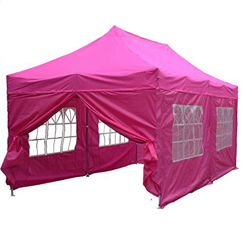 Delta 10'x20' Pop up 6 Walls Canopy Party Tent Gazebo Ez Black Red - F Model Upgraded Frame Canopies