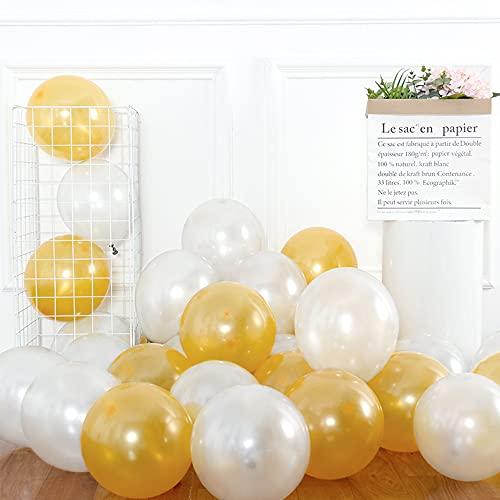 Globos dorados y blancos, 20 globos de látex dorados, globos blancos, globos...