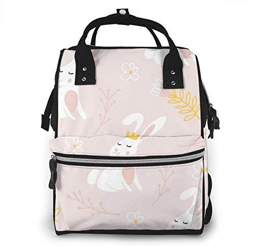 UUwant Sac à Dos à Couches pour Maman Large Capacity Diaper Backpack Travel Manager Baby Care Replacement Bag Nappy Bags Mummy Backpack,(Cute Bunny with A Crown