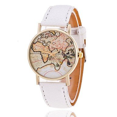 Reloj unisex estilo de mapa mundial / vendimia mapa del mundo / mapa del mundo antiguo / reloj de señoras / las mujeres de imitación de ( Color : Blanco , Talla : Una Talla )