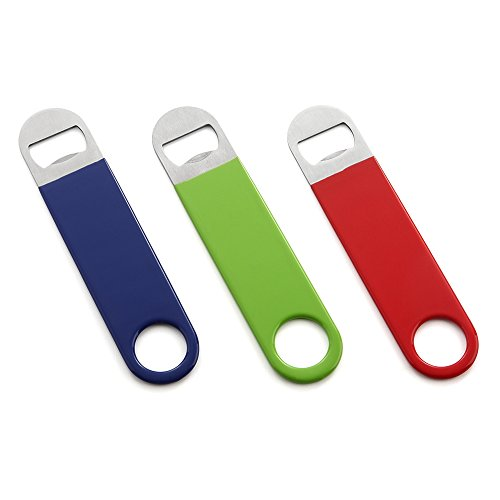 HQY 3 Pack Heavy Duty Stainless Steel Flat Bottle Opener, Solid Easy to Use Best Bottle Openers, 7 inches Red, Green, Blue