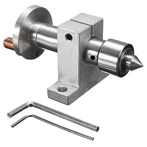 GUOCAO Herramientas ajustable de doble rodamiento centro giratorio en vivo DIY para la máquina de torno, herramienta de carpintería portabrocas
